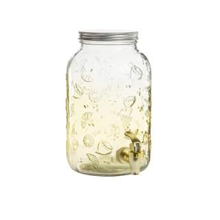 Fontaine en verre jaune à motif citrons avec robinet Ø 15,5 x H 25 cm 662374