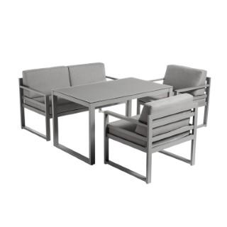 Set dinatoire Filao avec table haute en aluminium, batyline et textilène 662574