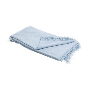 Plaid tissu chenille bleu en coton 130 x 170 cm 662706