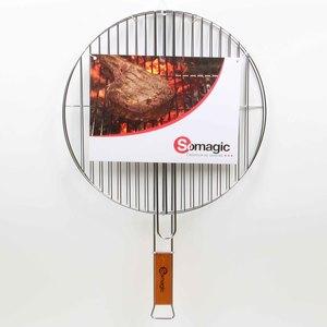 Grille ronde Somagic double acier chromé et manche en bambou Ø 41 cm 662714