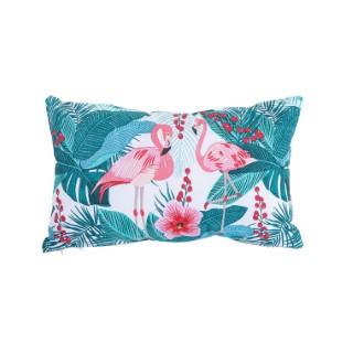 Coussin Flamand rose en coton vert et rose déhoussable 30 x 50 cm 662812