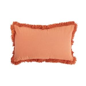 Coussin déhoussable en coton uni orange corail 30x50 cm 663090