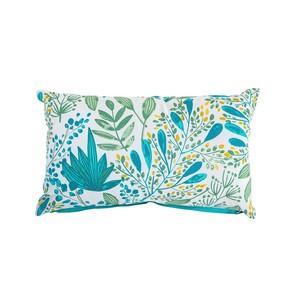 Coussin Campagne en coton imprimé bleu turquoise 30x50 cm 663099