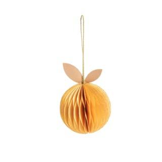 Pomme en papier jaune à suspendre H 11,5 cm 663247