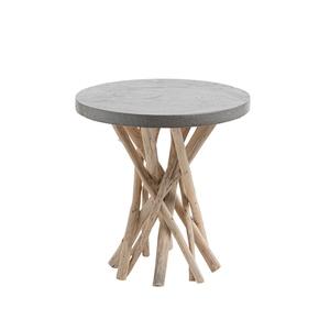 Table d'appoint en teck naturel gris Ø 50 x H 55 cm 663431