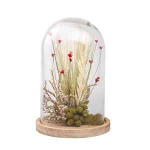 Cloche de fleurs séchées rouges taille L Ø 17 x H 25 cm 663574