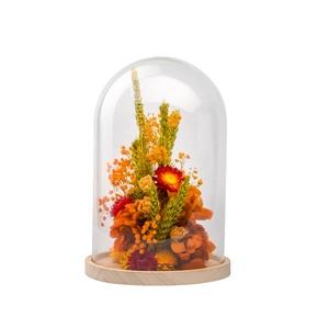 Cloche de fleurs séchées orange taille S Ø 14 x H 21 cm 663575