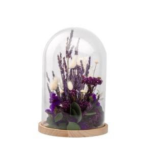 Cloche de fleurs séchées violettes taille S Ø 14 x H 21 cm 663577