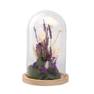 Cloche de fleurs séchées violettes taille L Ø 17 x H 25 cm 663578