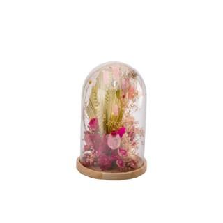 Cloche de fleurs séchées roses taille S Ø 14 x H 21 cm 663579