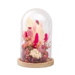 Cloche de fleurs séchées roses taille L Ø 17 x H 25 cm 663580