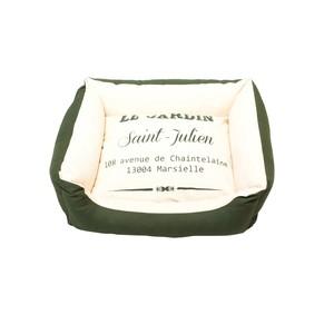 Lit sofa pour chien en coton bio blanc et vert taille S 50x40x21 cm 663892