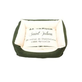 Lit sofa pour chien en coton bio blanc et vert taille L 75x60x25 cm 663894