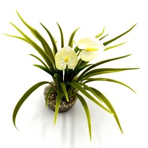 Buisson de fleurs blanches en plastique 8 x 8 cm 663942