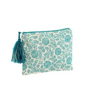 Trousse en coton bleu rectangulaire 16 x 21 cm 665481