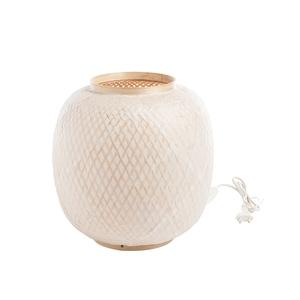 Lampe ronde en bambou blanc 30x3 665534