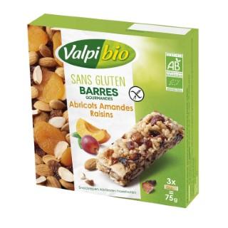 Barres abricot amandes et raisins sans gluten Valpibio - 75 g 666224