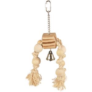 Jouet pour oiseaux pendentif en bois et corde 672026
