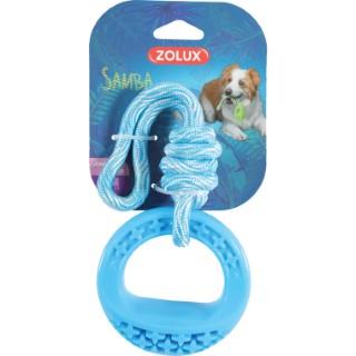 Jouet pour chien Samba rond bleu 26 cm en TPR et corde 672562