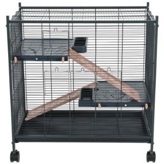 Cage Indoor 2 miniloft en métal gris et rose 72x43x73 cm 672603