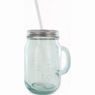 Mason jar en verre recyclé avec capsule aluminium et paille 674678