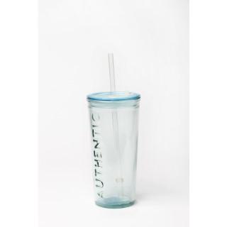 Mug de voyage en verre recyclé avec paille 674679