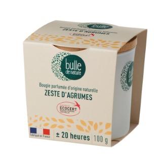 Bougie parfumée Zeste d'agrumes 100g bulle de nature 674861