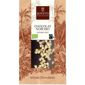 Chocolat noir bio au gingembre confit - tablette de 100 g 675673