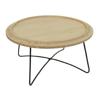 Table déco paulownia Ø58x30 cm 679366