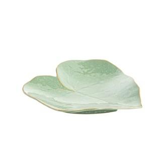Plateau déco vert en grès sous forme de feuille grand modèle 679451
