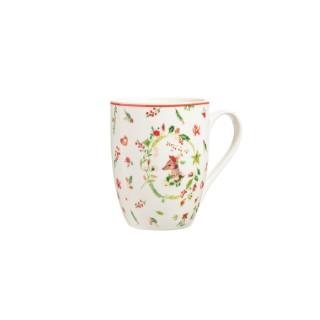 Mug en porcelaine avec motifs de feuilles de houx Ø 12 x 10,5 cm 679607