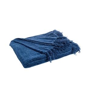 Plaid chervil frangé bleu 150 x 130 cm 680391