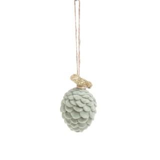 Pomme de pin en résine et velour vert D.4xH.6,5 cm 680576