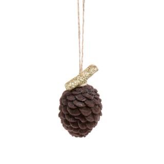 Pomme de pin en résine et velour brun D.4xH.6,5 cm 680577