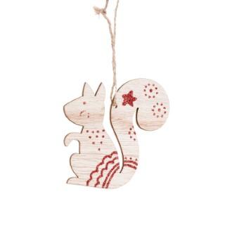 Suspension de Noël écureuil en bois avec ornementations rouge scintillantes - H9 cm 680586