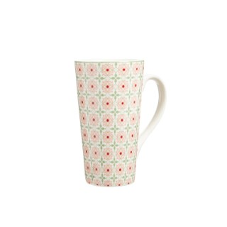Coffret flowery avec mug en porcelaine rose 12 x 8 x 15 cm 680745