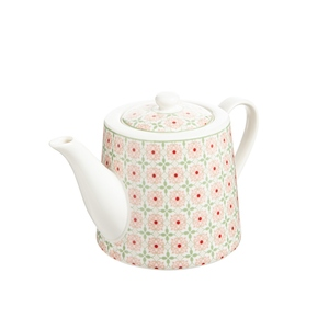 Coffret flowery avec théière en porcelaine rose 12 x 8 x 15 cm 680746