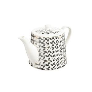 Coffret théière graphik noir et blanc en porcelaine 21 x 13 x 13 cm 680749