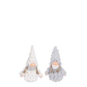 Décoration de Noël à poser fillette en manteau gris ou blanc 9x4x14 cm 681576