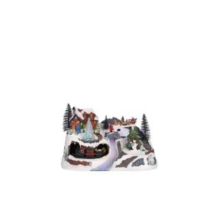 Village de Noël avec ruisseau et arbres lumineux 31x19,5x20 cm 681699