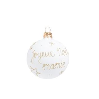 """Boule de Noël en verre blanc imprimé doré """"Joyeux Noël Mamie"""" 681989"""