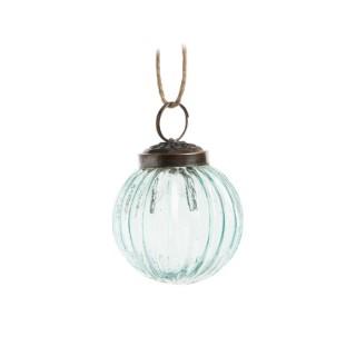 Boule bicolore argent et bleu clair en verre Ø 8 cm 682165