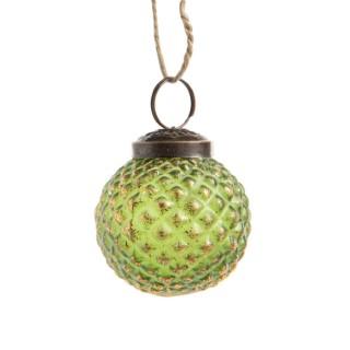 Boule rustique ronde verte en verre Ø 5 cm 682195