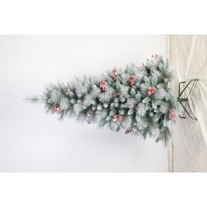 Arbre de Noël Enneigé avec Baies H150 cm PVC Blanc 682526