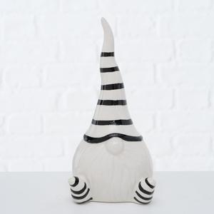 Figurine gnome noir et blanc 8x8x17 cm 682744