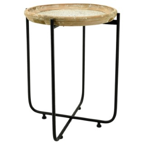 Table pliante métal, bois, rotin Ø43xH57 cm 683162