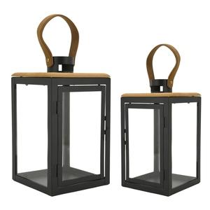 Lanterne metal et bois 20x20x38 cm T2 683173
