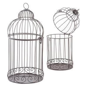 Cage métal vieilli Ø15xH29-34 cm T1 683188