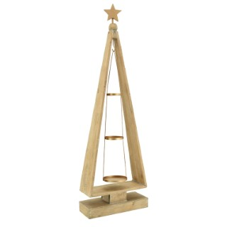 Porte-bougies sapin en bois 31x12x100cm 683215