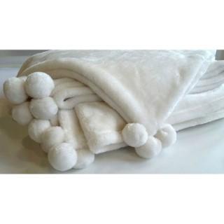 Coussin blanc à pompons 45 x 45 cm 683246
